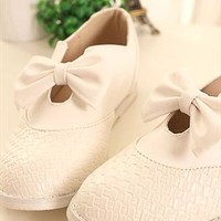 Pure Bowknot Lattice Elevator white shoes