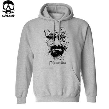 Cotton blend Breaking bad men sweatshirt casual fleece hisenberg print mens hoodies and sweatshirts with hat H01