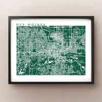 Des Moines Map Print - Iowa Art Poster