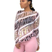 Fendi Fashion New Sequin More Letter Leisure Long Sleeve Top Women