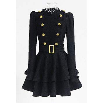 Vintage Stand Collar Buttons Long Sleeve Ruffled Mini Dress