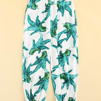 Tropical Print Harem Pants