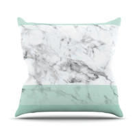 "KESS Original ""Mint Marble Fade"" White Green Throw Pillow"