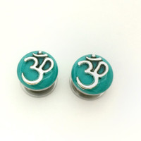 Om plugs / 00g, 1/2, 9/16, 5/8 inch / spiritual gauges / teal plugs / om gauges / stainless steel screw on plugs / aum plugs