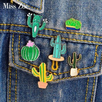 Trendy Cartoon cactus prickly pear Enamel pin Brooch Green plant Mexican cactus cat Denim Jacket Lapel Pin Coat badge Fashion Jewelry AT_94_13