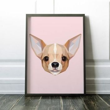 Chihuahua Geometric Art Print Canvas