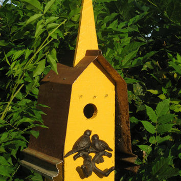 Mission Style Reclaimed Wood & Metal Birdhouse in Mustard With Double Birds Ornamental Perch