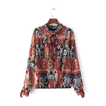 Geometric Print Ruffled Bow Collar Long Sleeve Elastic Hem Chiffon Blouse