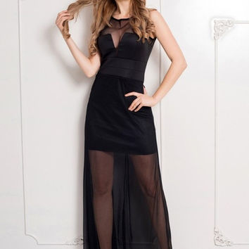 Comeondear Dress with Floor-length Sheer Overlay Maxi Dresses Sleeveless JARFF