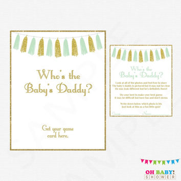 Mint and Gold Baby Shower Games Who's the Baby's Daddy Baby Shower Game and Sign Printable Gender Neutral Boy Girl Printable Download TASMG