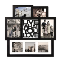 "Black Wood Wall Hanging Picture Photo Frame Collage ""Live What You Love"" with Mat"