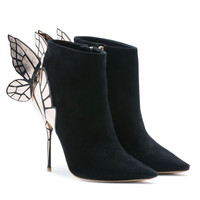 Cleopatra Suede Leather Butterfly Boots - Catwalk Connection