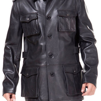 Black leather buttoned up coat