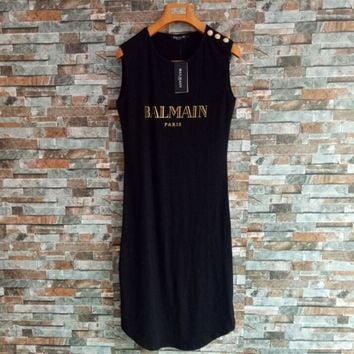 Balmain Women Casual Bronzing Letter Buttons Decoration Sleeveless Cotton Vest Dress