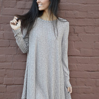 Layer Me Pretty Sweater Dress- Mocha