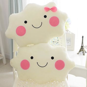 Free shipping Kawaii soft Smiley Face Bow Cloud pillow 100% Cotton Stuffed Back Cushion Seat Cushion Christmas gifts plush toy