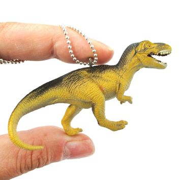 T-Rex Dinosaur Shaped Figurine Pendant Necklace in Yellow and Grey | Animal Jewelry