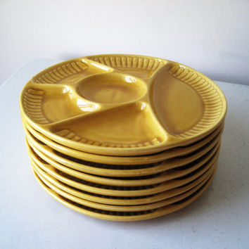 Yellow Fondue Plates, Midcentury California Pottery, 8 Divided Plates, Yellow Earthenware Plates, Stoneware Plates Made in USA, SALE