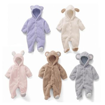Cartoon Coral Fleece Newborn Baby Romper Costume Baby Clothes Animal Overall Menina Winter Warm Longsleeve Baby Rompers Jumpsuit