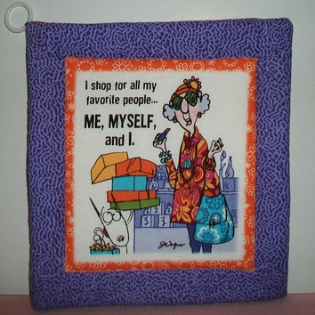 Purple Quilted Aunty Acid Pot Holder Trivit Cooking Baking Kitchen Decor