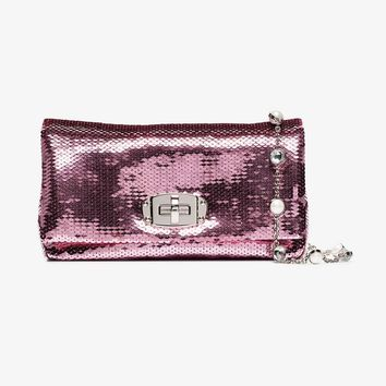 pink iconic sequin embellished crystal mini bag