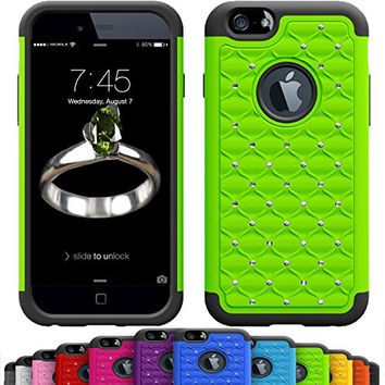GIRLY iPhone 6s / 6 (4.7 Inch) Crystal Studded Defender Cases by VALLT, Hybrid Dual Layer Rhinestone Bling Protective Case Cover for Apple I Phone - Lifetime Guarantee (Lime Green)