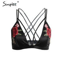 Simplee Sexy satin floral embroidery bra bralette Black triangle hollow out unpadded brassiere Summer party crop top lingerie