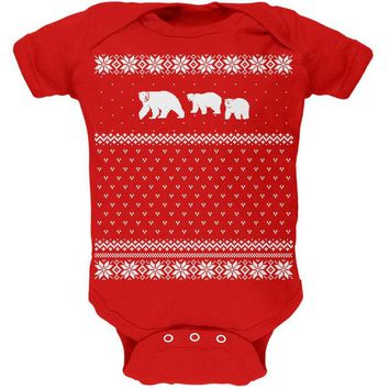 DCCKU3R Polar Bears Ugly Christmas Sweater Red Baby One Piece