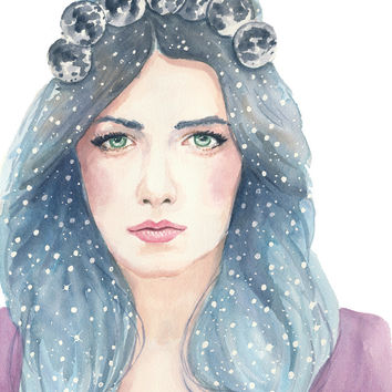 Woman Watercolor Portrait - 8x10 Watercolour PRINT, Galaxy, Night Sky, Stars