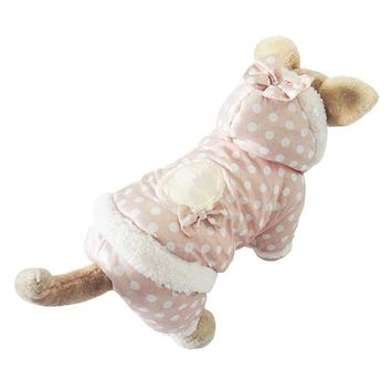 Cute Warm Dot Hoodied Style Pet dogs winter coat Free Shipping Dogs Clothes new clothing for dog