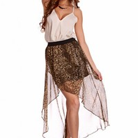 Olive Multi Animal Print High Low Hem Sheer Skirt