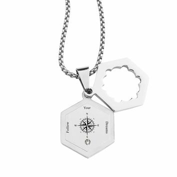 Life Compass Double Hexagram Necklace with Cubic Zirconia by Pink Box - FOLLOW YOUR DREAMS