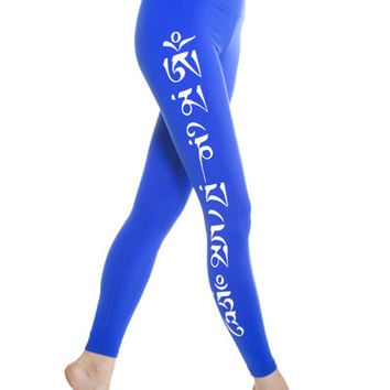 High Performance Om Mani Padme Hum Lapis Yoga Leggings