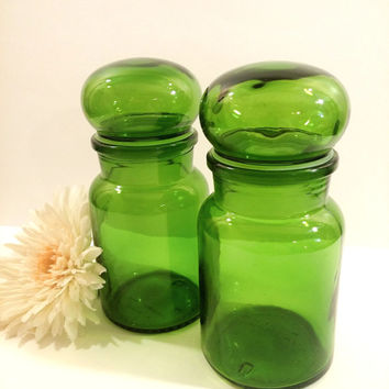 Set of Two Retro, Mod Made in Belgium Green Glass Apothecary Jars.  Kitchen Canisters. Kitchen Storage.  Retro Bathroom Decor.