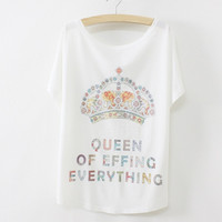 New Womens Batwing Short Sleeve Graphic Printed T Shirt Tee Tops (Color: White) = 1946306628