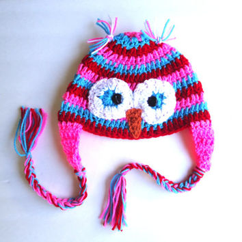 Crochet owl hat, earflap hat, baby girl hat, newborn hat, kids hats, owl earflap hat, crochet beanie, photo prop, christmas gifts