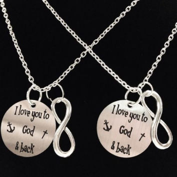 2 Necklaces Infinity I Love You To God And Back The Moon Anchor Couples Set