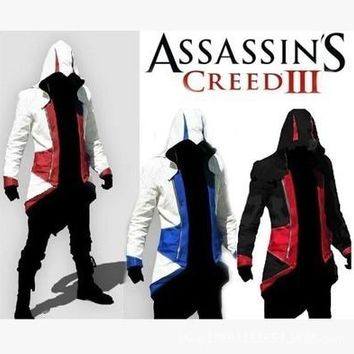 Game Assassins Creed 3 Conner Kenway Jacket Hoodie Coat Assassin's Creed Cosplay Costume Coat + Cap + Spare Buttons