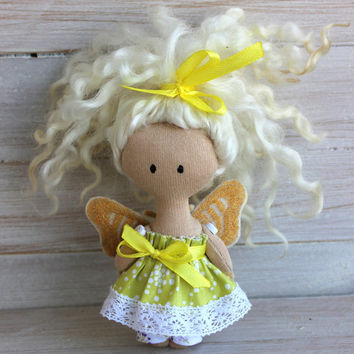 Pink butterfly doll, gold butterfly doll, Rag doll butterfly, cloth dolls pink and gold butterfly, doll with blond hair, pocket doll