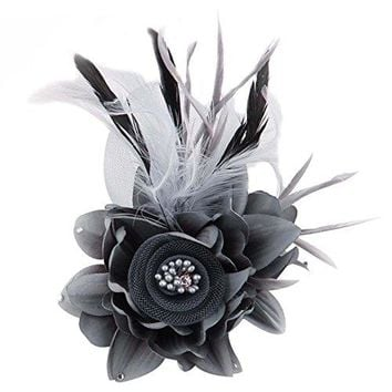ACTLATI Charming Mesh Feather Hair Clip Women Girls Hairpin Cocktail Party Flower Barrette Fascinator Hat