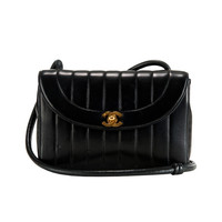 An Elegant Chanel Black Lambskin Shoulder Bag
