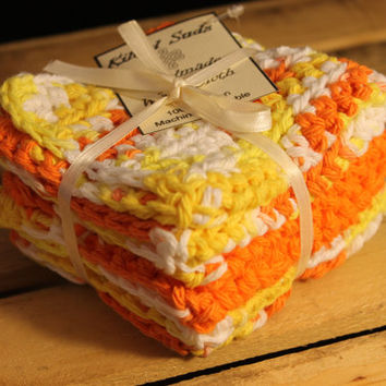 Cotton Washcloth, Crochet washcloth, Yellow Washcloth, Orange Washcloth, Cotton Dishcloth, Crochet Dishcloth, Yellow Dishcloth, Cotton Cloth