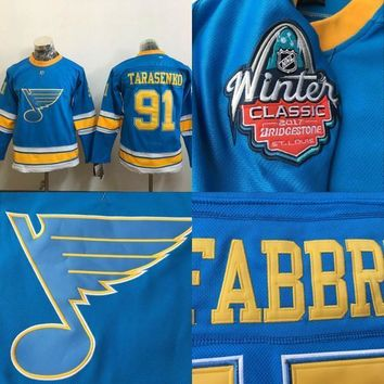Youth Kids #91 Vladimir Tarasenko Jersey, 2017 Winter Classic Premier Jersey St. Louis Blues 100% Stitched Embroidery Logos Hockey Jerseys