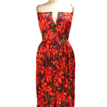 1980s Hawaiian Flower Dress / Button Front / Orange Hibiscus Flowers / Spring Summer Sundress / Womens Vintage Dress / Size 5/6
