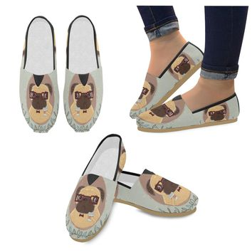 Pug Hipster With Coffee Slip on Loafers Flats