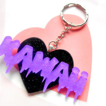 Creepy Cute Kawaii Keychain, Acrylic Keychain Black Heart, Kawaii Kei, Kawaii Logo Keychain, Otaku Keychain Japan Gothic Lolita, Kawaii Word