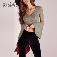 Rachelcoco 2016 New Arrivals Women Fashion T Shirt Long Flare Sleeve V Neck Knitted Tops Brand High Quality Solid Color Tee