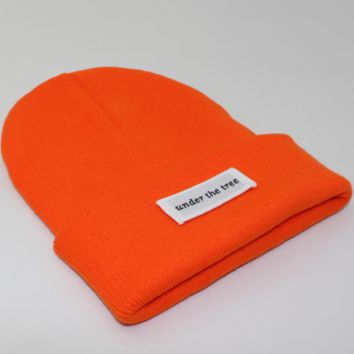 Under the tree patch lettering knit hat Orange