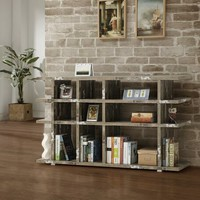 Wilmington cabin collection salvaged cabin finish wood multi level book case silver metal accents
