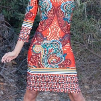 Country Cowgirl Dress Short in Brown Orange V Neck 3/4 Sleeve